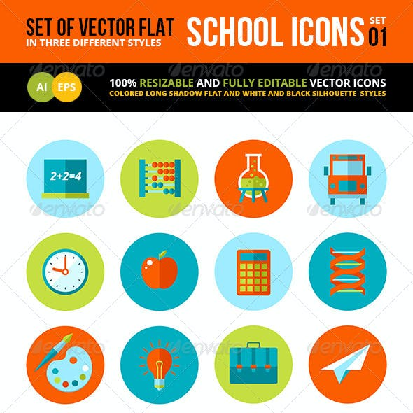 Flat School and Education Icons Set.