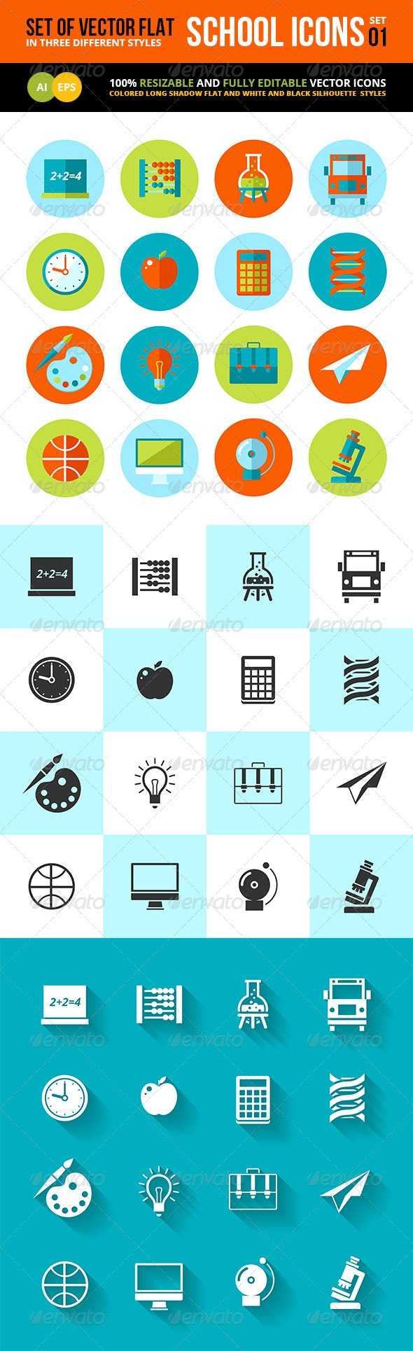 Flat School and Education Icons Set. - Objects Vectors