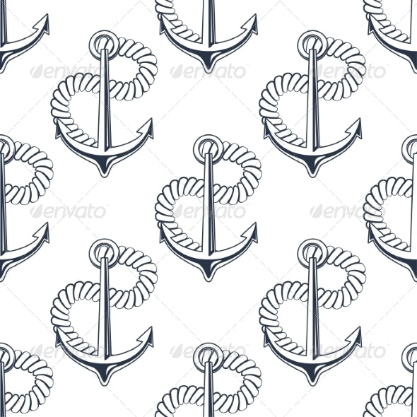 Marine Anchor with Curling Rope - Backgrounds Decorative