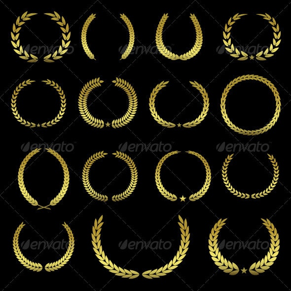 Collection of Golden Laurel Wreaths - Decorative Symbols Decorative