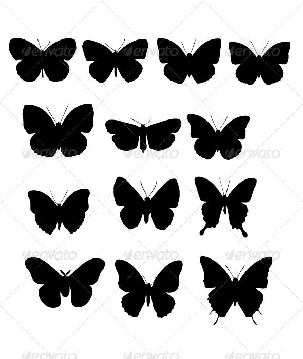 Butterfiles Silhouettes - Animals Characters
