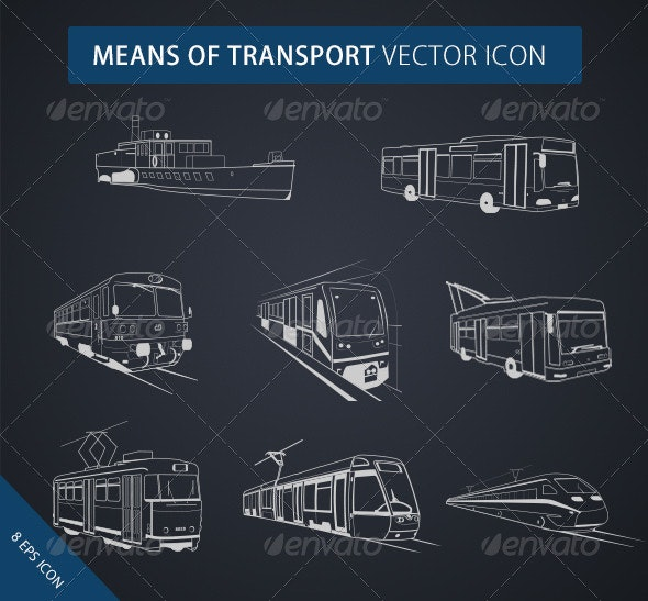 Means of Transport Icon - Travel Conceptual