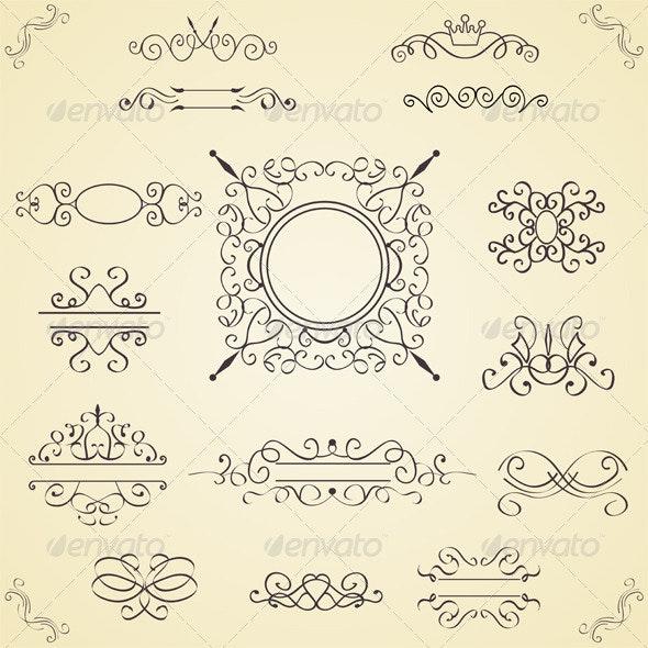 Set of Calligraphic Design Elements, Vector - Decorative Vectors