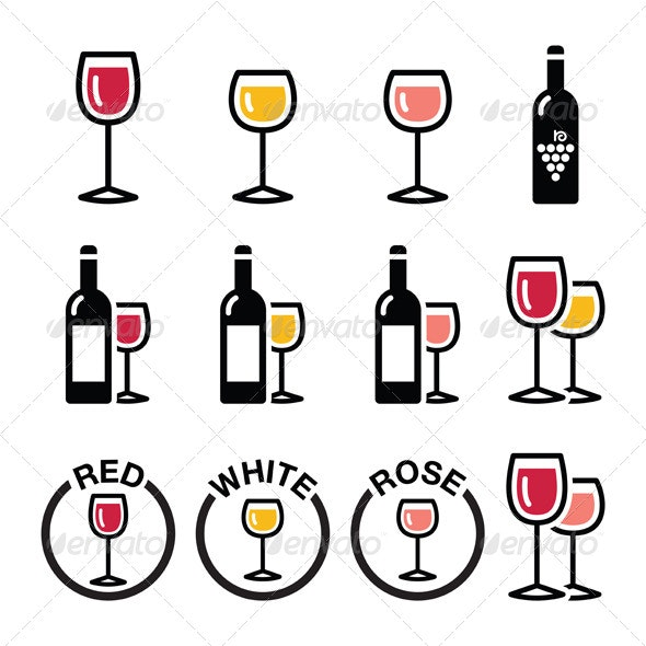 Wine Types Icons Set  - Food Objects