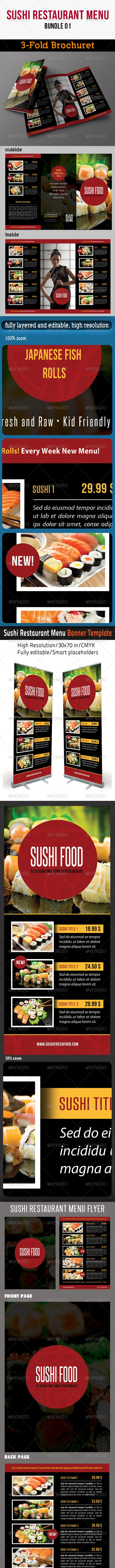 Sushi Restaurant Menu Bundle 02 - Stationery Print Templates