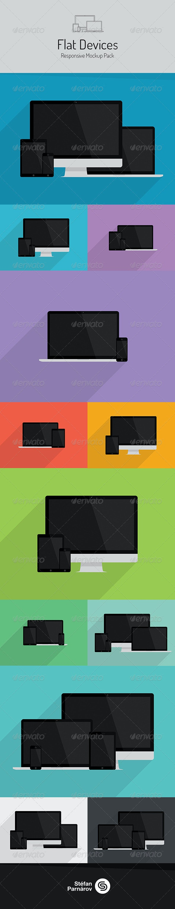 Flat Devices - Responsive Mockup Pack - Multiple Displays
