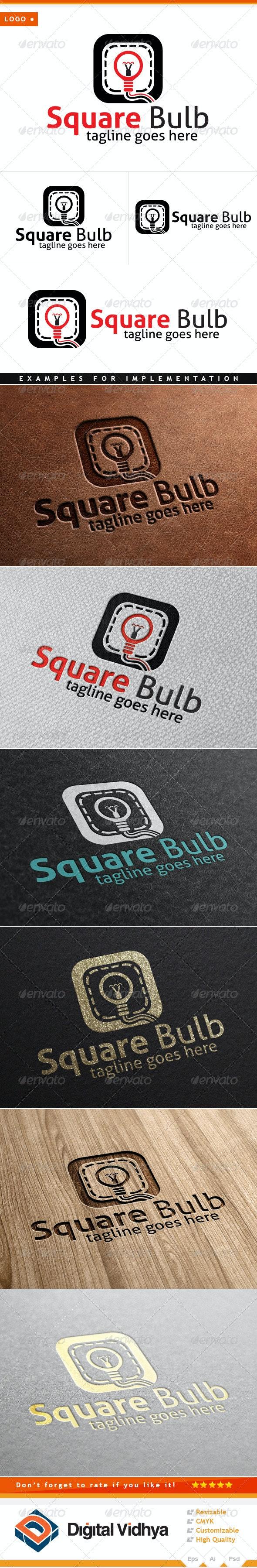 Square & Bulb Logo - Symbols Logo Templates