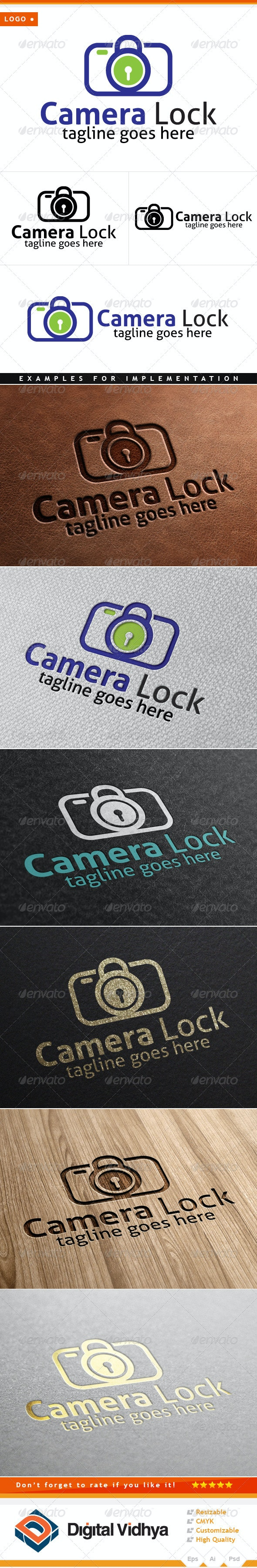 Camera & Lock Logo - Symbols Logo Templates