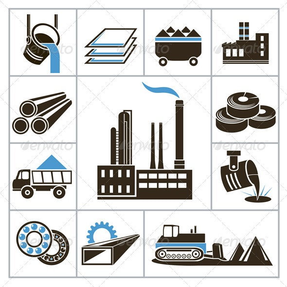 Heavy Industry Icons - Industries Business