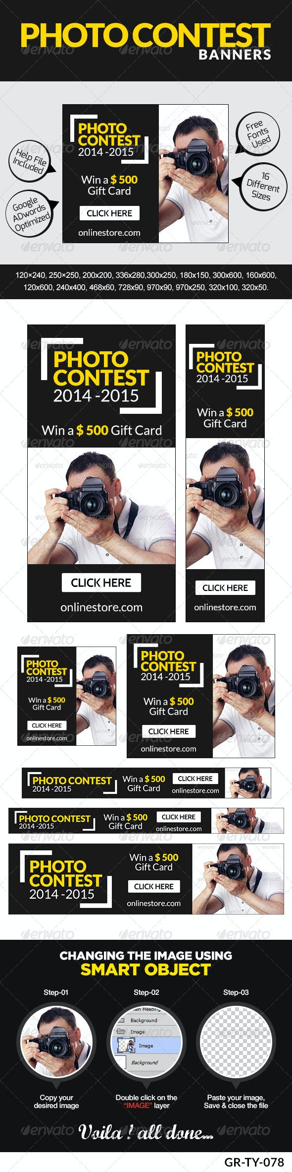 Contest & Survey Banners - Banners & Ads Web Elements