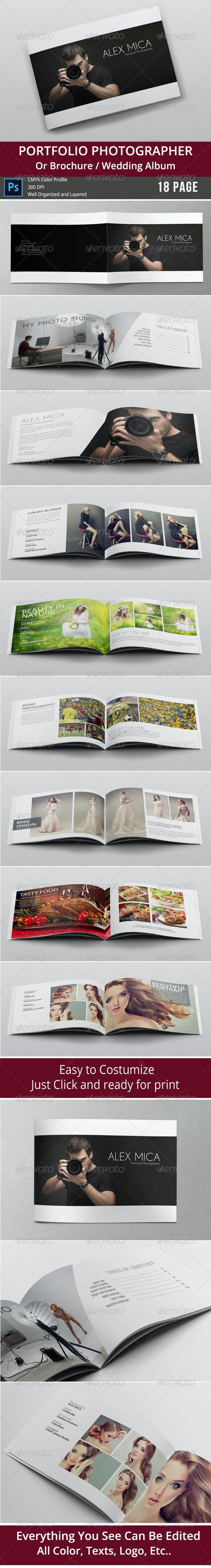 18 Pages Photography Portfolio or Photo Album - Photo Albums Print Templates