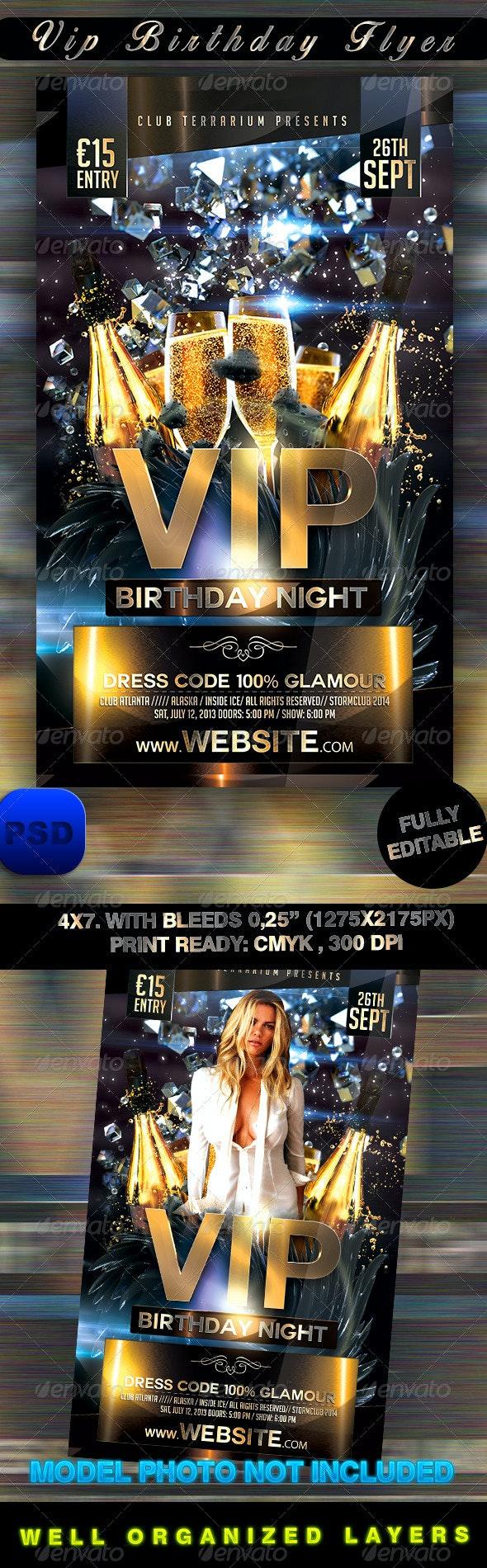 VIP Birthday Flyer - Events Flyers
