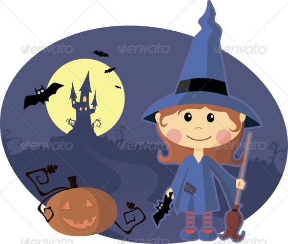 Young Witch with Pumpkin at Halloween Night - Halloween Seasons/Holidays