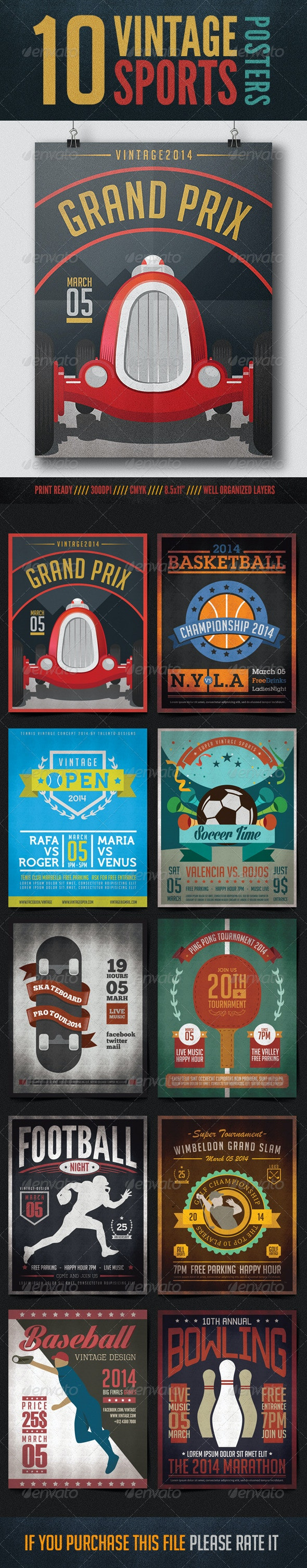 10 Vintage Posters Sports - Sports Events