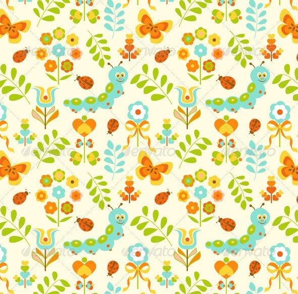 Seamless Pattern For Spring - Flowers & Plants Nature