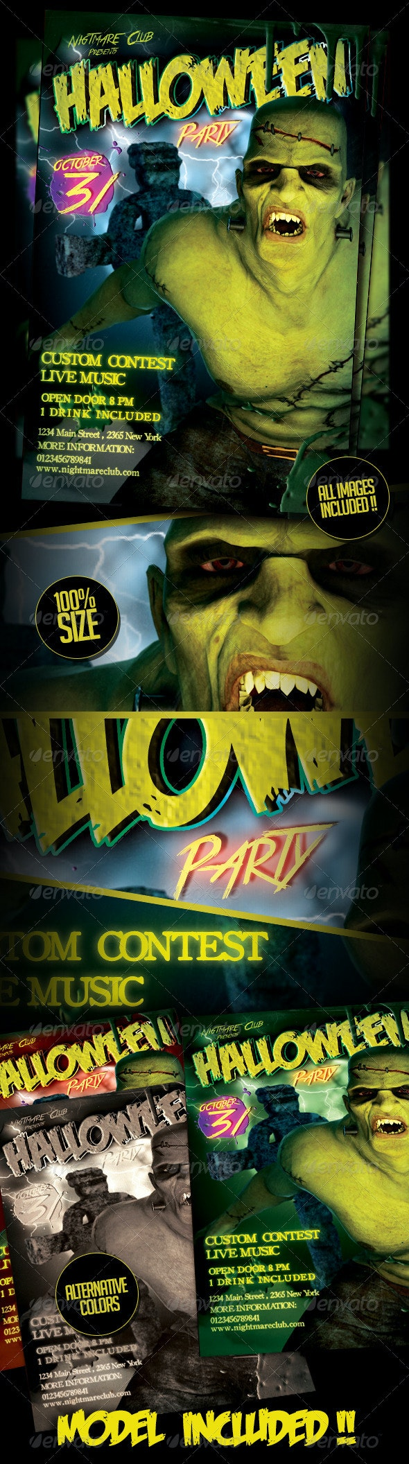 Hallowen / Frankie Party Flyer Template - Clubs & Parties Events