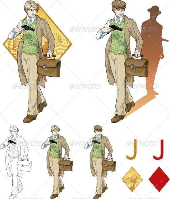 Jack of Diamonds Boy with a Gun Mafia - People Characters