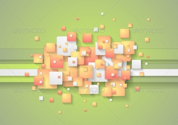 Abstract Colorful Squares Vector Background - Abstract Conceptual