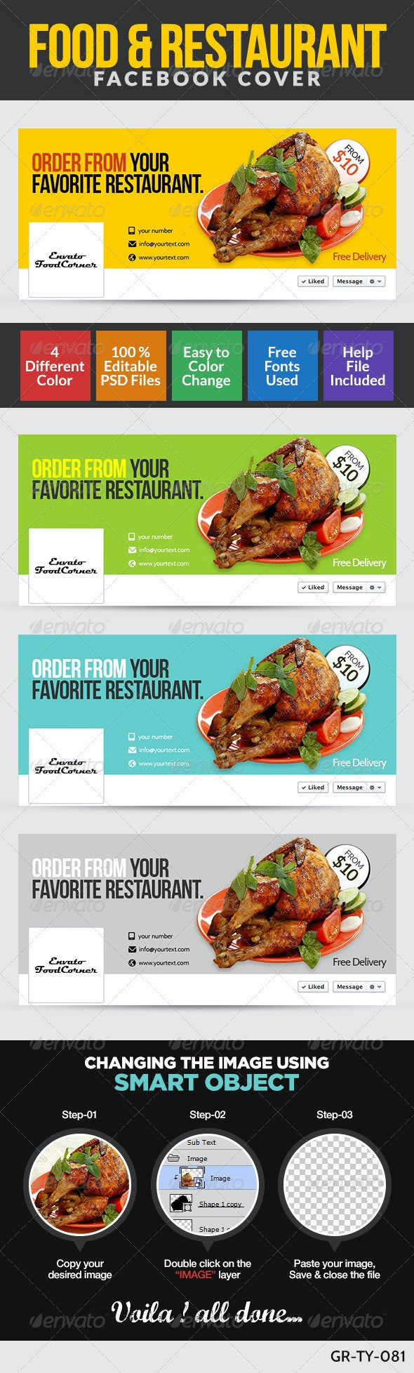 Restaurant & Food Facebook Cover Page - Banners & Ads Web Elements