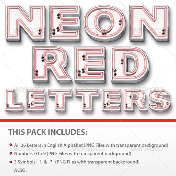 Neon Red Letters