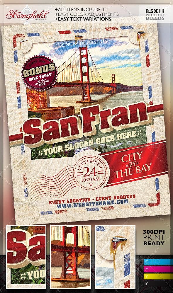 Vintage Travel Postcard Poster Template - Retro/Vintage Business Cards