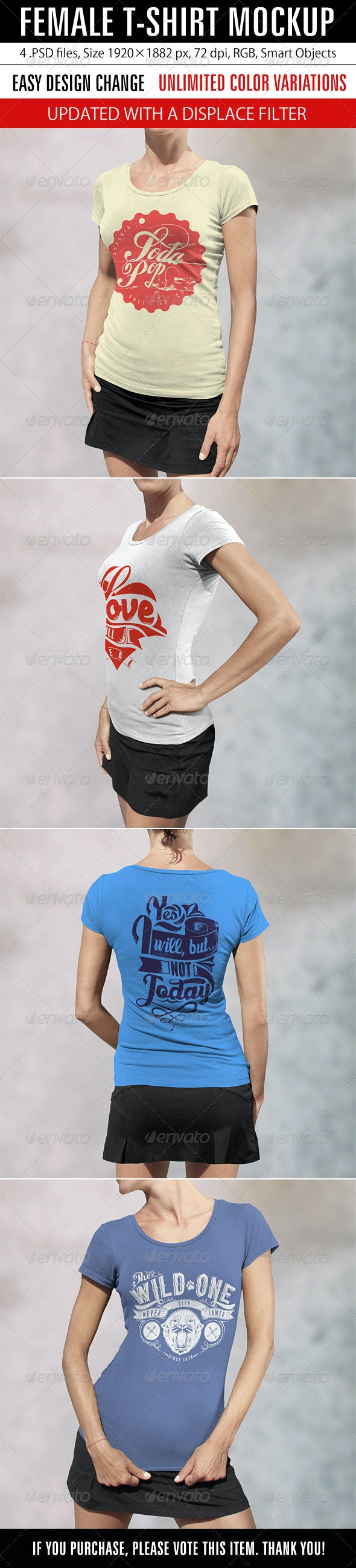 Female T-Shirt Mockup - T-shirts Apparel