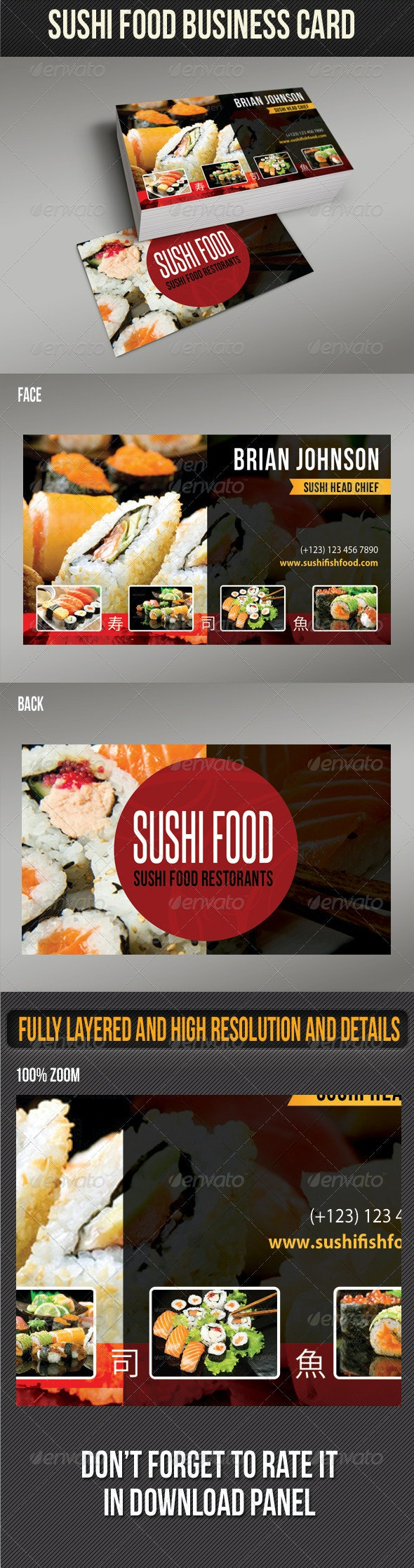 Sushi Food Business Card 02 - Industry Specific Business Cards