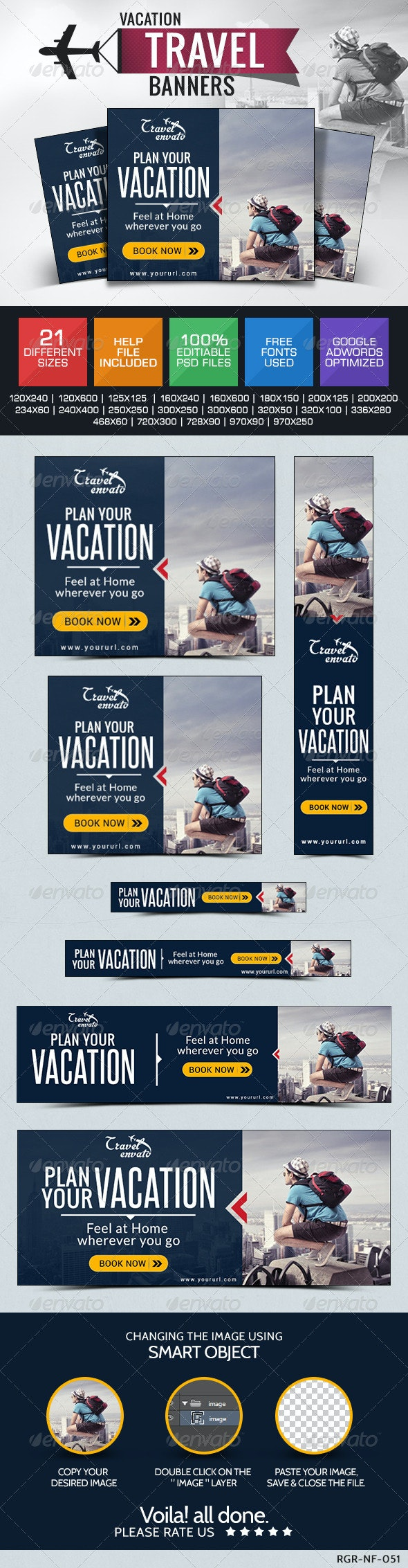 Travel & Tourism Banners - Banners & Ads Web Elements