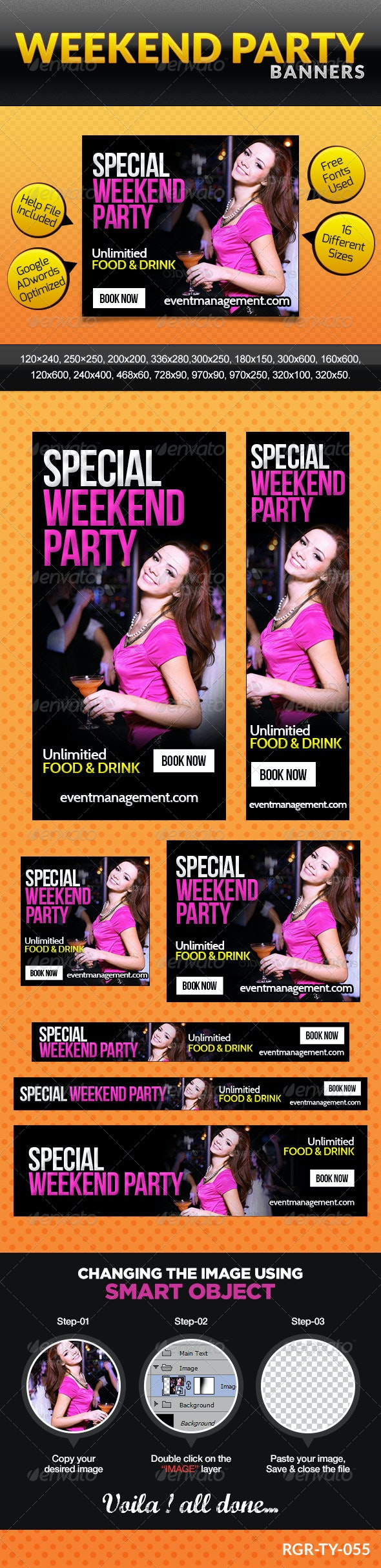 Party & Event Management Banners - Banners & Ads Web Elements