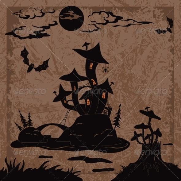 Holiday Halloween Landscape with Castle mushroom - Halloween Seasons/Holidays