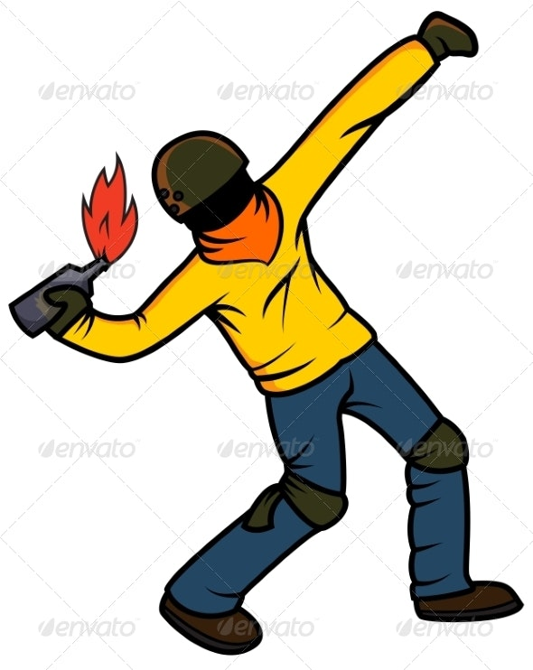 Rebel Throwing Molotov Cocktail - People Characters