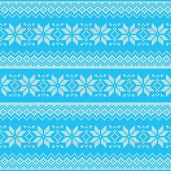 Winter Christmas Blue Seamless Pixelated Pattern  - Patterns Decorative