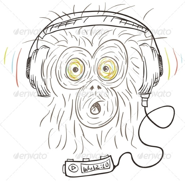 Monkey Listens to Music - Animals Characters