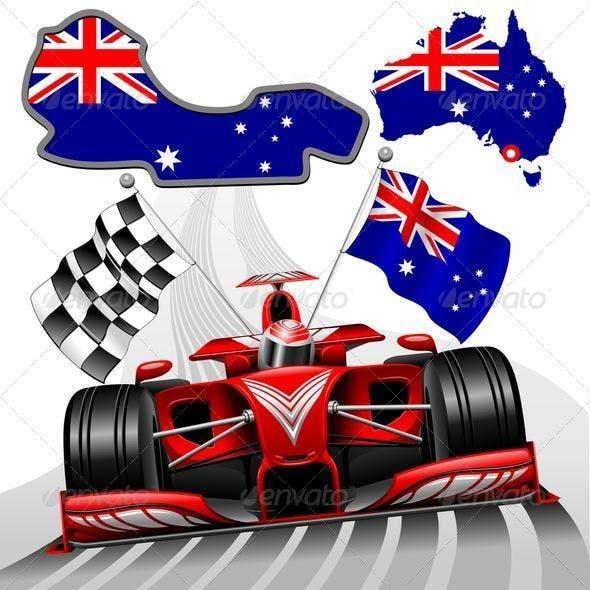 Formula 1 Red Race Australian Car