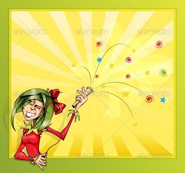 Jester Girl with Firecrackers - Birthdays Seasons/Holidays
