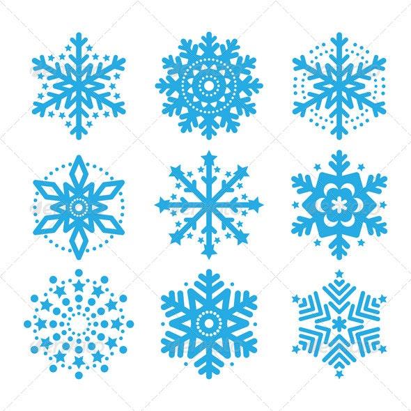 Snowflakes, Winter Blue Vector Icons Set - Christmas Seasons/Holidays