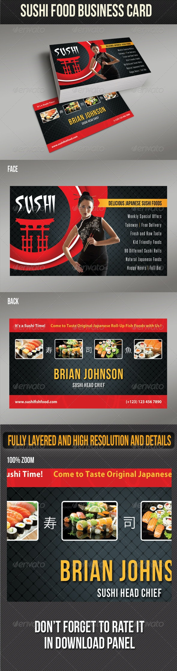 Sushi Food Business Card 01 - Industry Specific Business Cards