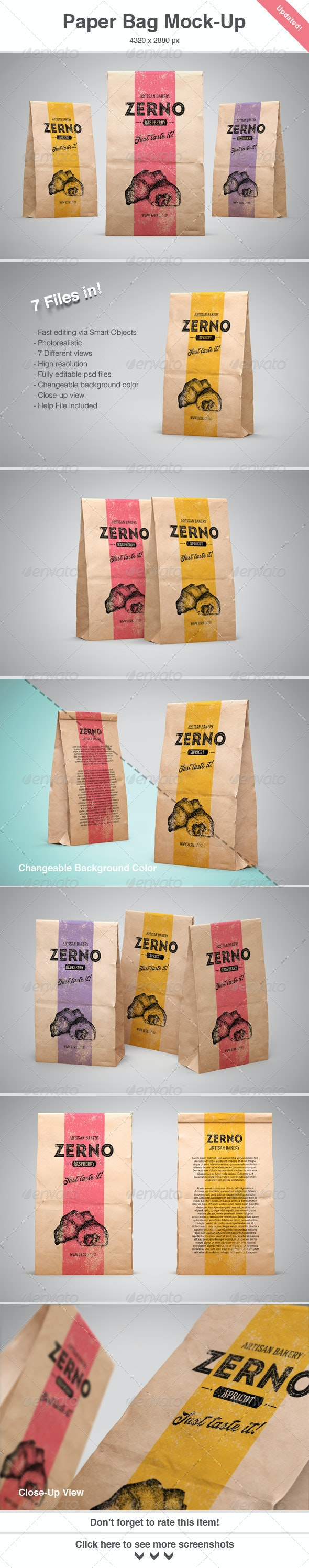 Paper Bag Mock-Up - Food and Drink Packaging