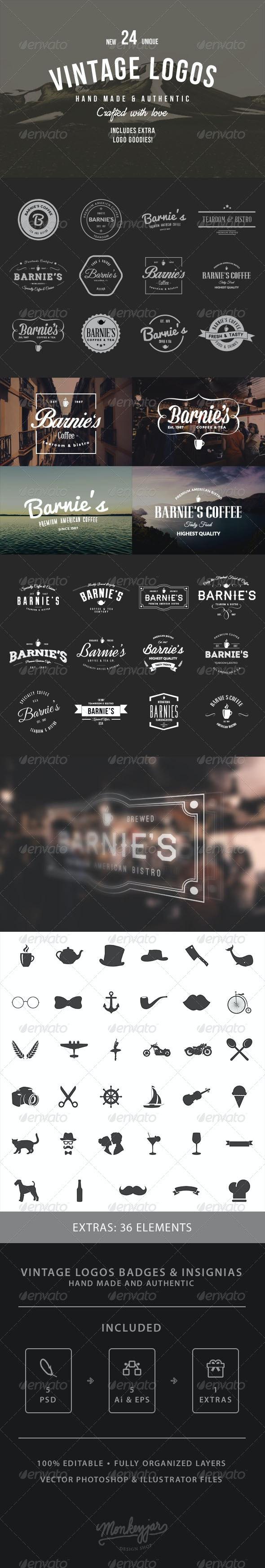 24 Old-School Logos & Badges - Badges & Stickers Web Elements