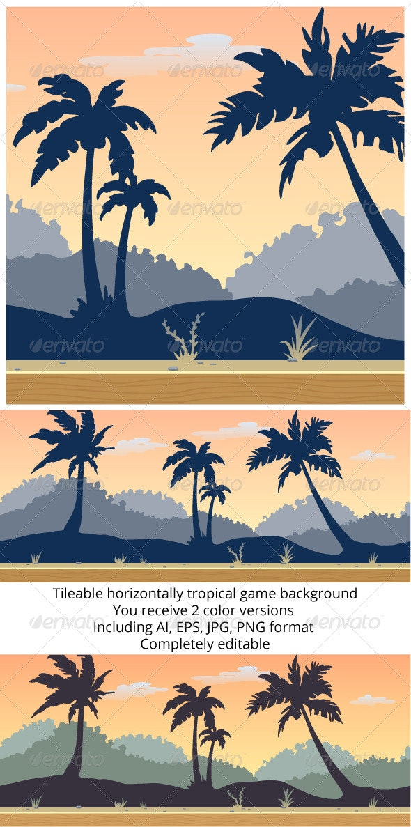 Tileable Tropical Game Background - Backgrounds Decorative