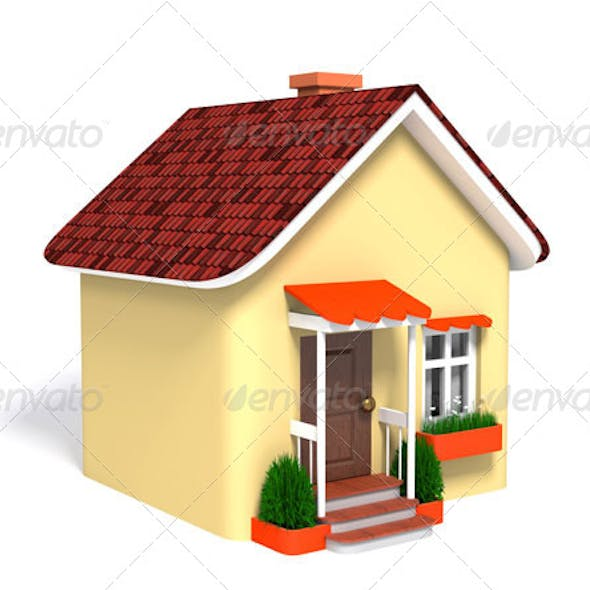 Toy House on a White Background