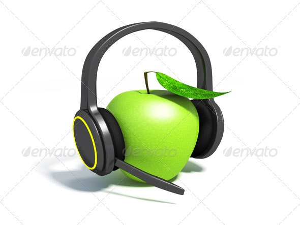Green apple with leaf on headphones - 3D Renders Graphics
