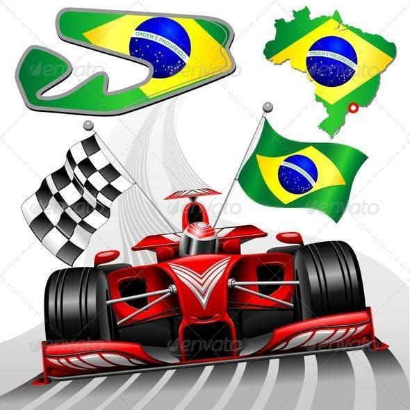 Formula 1 Red Race Car GP Brazil