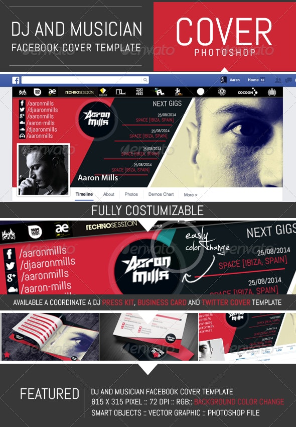 Dj and Musician Timeline Facebook Cover Template - Facebook Timeline Covers Social Media