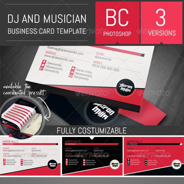 Dj and Musician Business Card Template