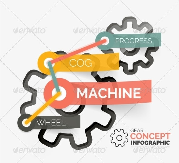 Gear Infographic Concept with Tag Connection - Web Technology