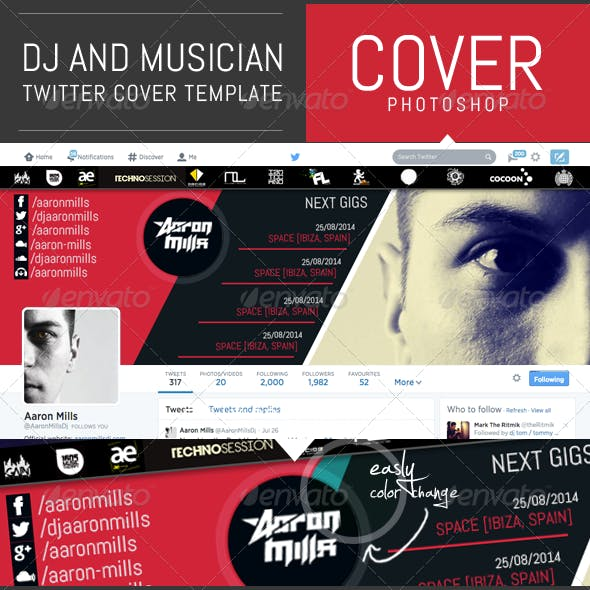 Dj and Musician Twitter Cover Template