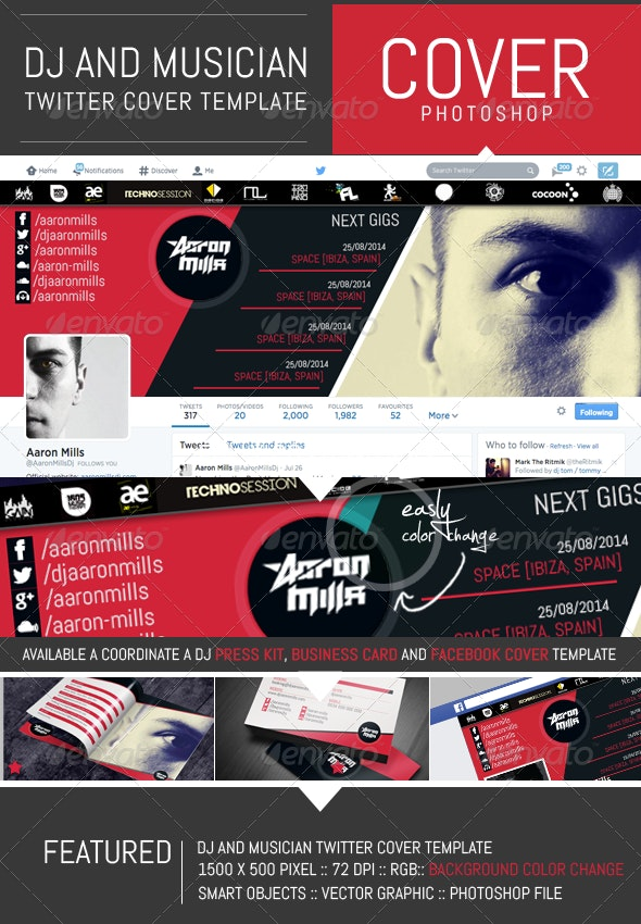 Dj and Musician Twitter Cover Template - Twitter Social Media