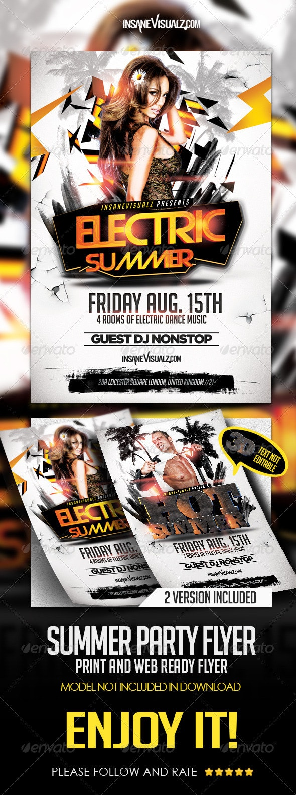 Electric Summer Flyer - Clubs & Parties Events