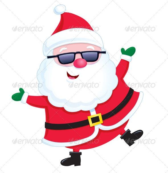 Jolly Santa Wearing Sunglasses - Christmas Seasons/Holidays